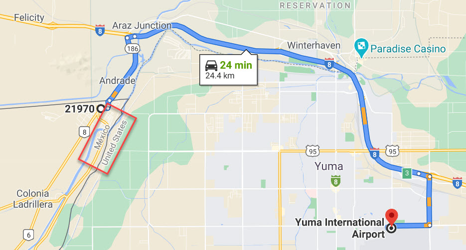 Map to Dr Dennis from Yuma International Airport